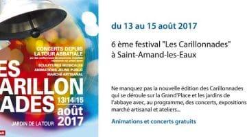 affiche du festival des carillonnades qui a lieu du 13 au 15 août 2017 à Saint-Amand-les-Eaux