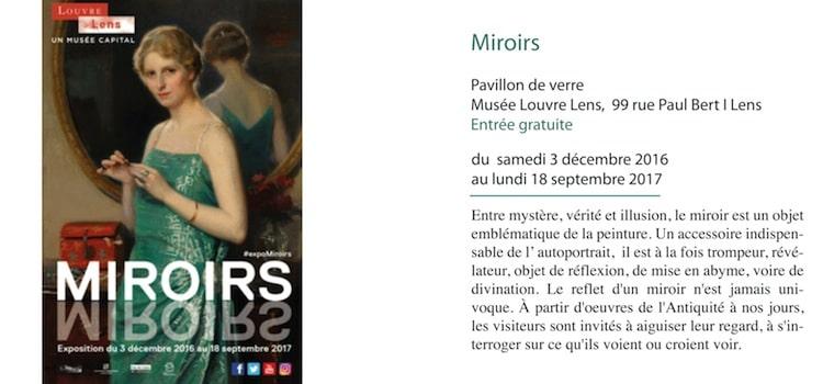 affiche annoncant l'exposition gratuite Miroirs au musée Louvre Lens jusqu'au 18 septembre 2017