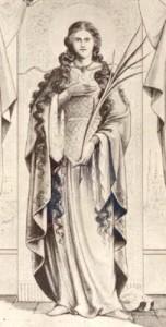 gravure ancienne de Sainte-Godeleine à Wierre-Effroy où on voit la sainte tenant une palme reportage Nord Decouverte