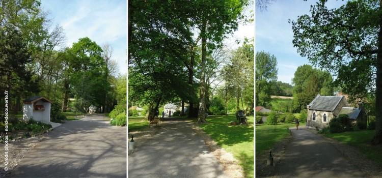la chapelle Sainte Godeleine au fond d'un valon est entouré d'un joli parc