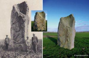 vue comparative du menhir de Lécluse hier et aujourd'hui avec le tracé qui met en relief la silhouette du nain