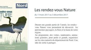 le programme 2017 des rendez-vous Nature organisés parle département du Nord