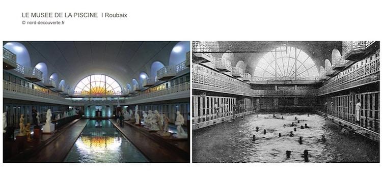 vue avant avec des nageurs et après avec les oeuvres de l'allée principale de la piscine de Roubaix
