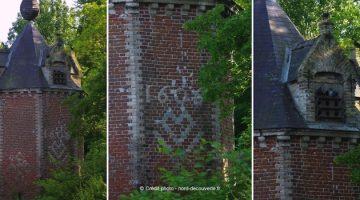 le pigeonnier du château d'esquelbecq daté de 1606 avec des coeurs et des noeuds magiques