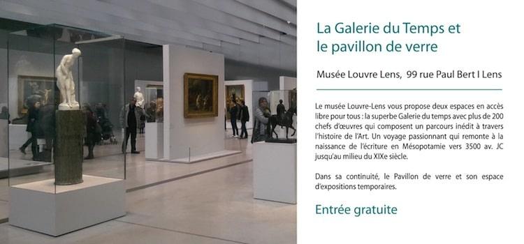 présentation de la galerie du Temps et pavilon de verre du musée Louvre lens en entrée gratuite