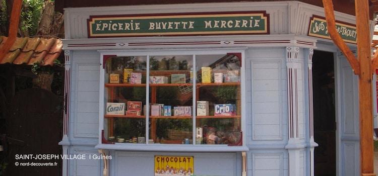 l'épicerie à l'ancienne reconstituée à l'intérieur de Saint Joseph Village à Guînes reportage Nord Découverte