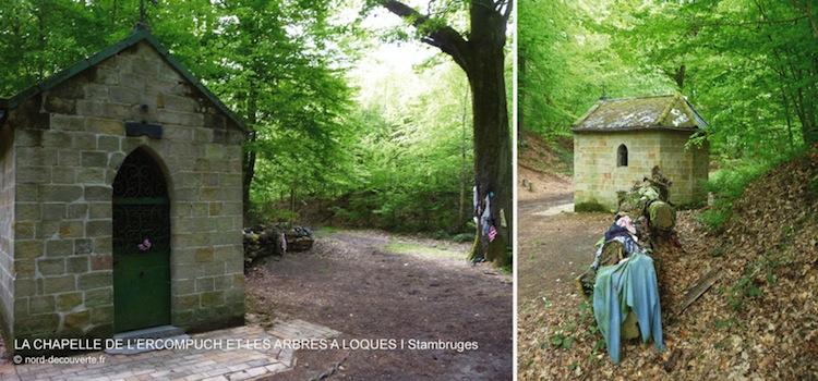 vue des deux arbres à loques et de la chapelle de l'Ercompuch à Stambruges