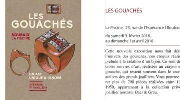 ffiche de l'exposition des Gouachés au musée de la Piscine de Roubaix en ligne sur Nord Découverte
