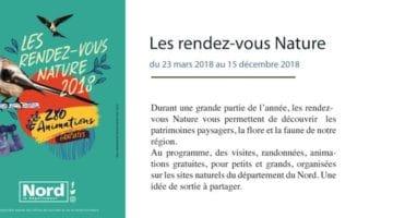 programme des rendez-vous Nature 2018 organisés par le département du Nord