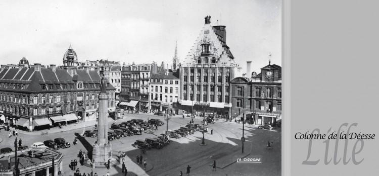 La colonne de la Déesse et la Grand'Place à Lille dans les années 30
