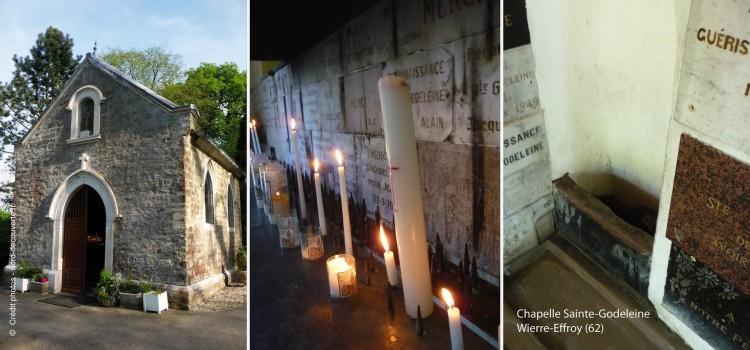 les murs intérieurs de la chapelle Sainte Godeleine à Wierre-Effroy sont couverts d'ex votos