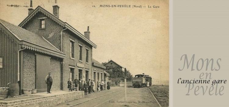 carte ancienne de la gare de l'ancienne gare de mons-en-pevele sur la voie verte du Pévèle