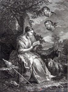 Gravure représentant Sainte-Genevieve patrone de Paris en bergere assise et lisantune quenouille à ses côtés.