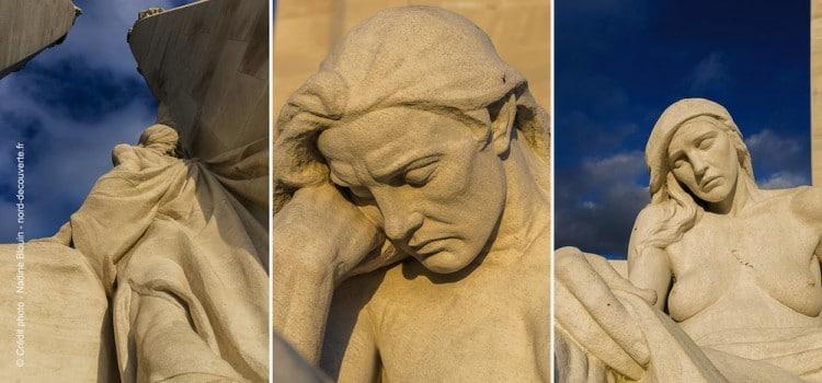 gros plan sur les figures des statues du Mémorial canadien de Vimy reportage Nord Découverte