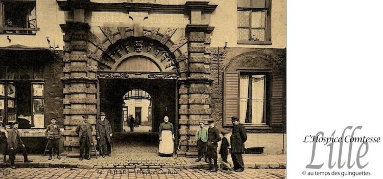 carte postale ancienne de l'époque où l'Hospice Comtese accueillait des personnes a^gées et démunies