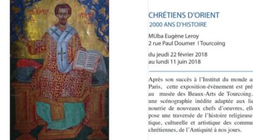 affiche de l'exposition sur les chrétiens d'orient, 2000 ans d'histoire du 22 février au 11 juin 2018 au musée MUba Eugène Leroy