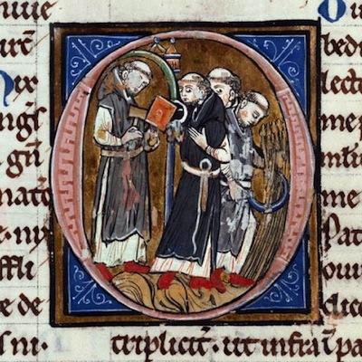 moines cisterciens faisant les moissons illustrant les travaux effectués à l'abbaye de Vaucelles
