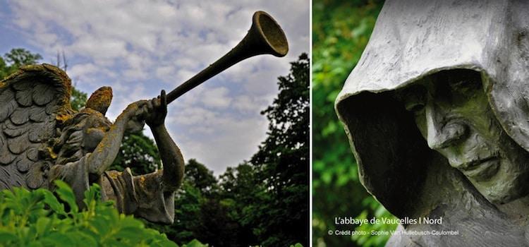 Plusieurs sculptures sont présentes dans les jardins de l'abbaye de Vaucelles