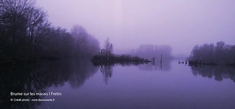 Brume sur les marais de Fretin en fin de journée, une photo Nord Découverte