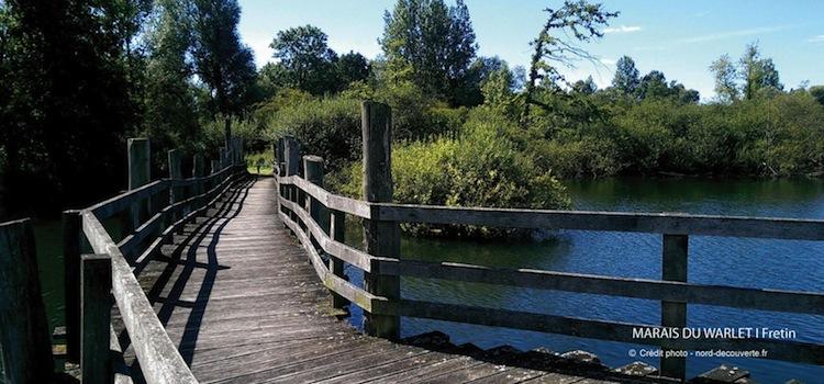 une passerelle sur l'eau des marais de Fretin et Warlet