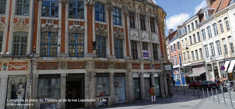 vue de l'angle de la rue Lepelletier et la place du Théâtre