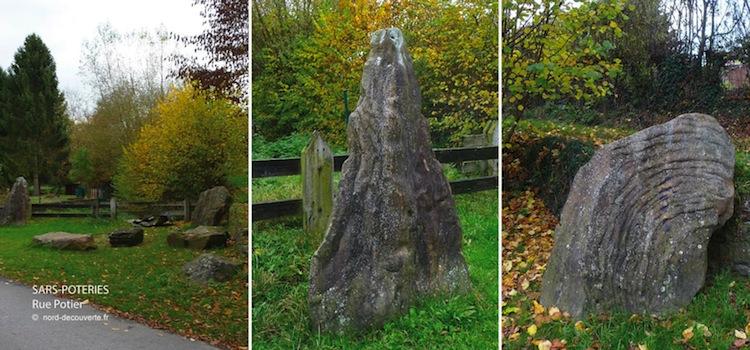 les megalithes découverts rue Potier à Sars-Poterie