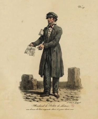 gravure d'un vendeur de billet de loterie illustrant la loterie du musée Valenciennes