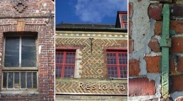 trois photos montrant des runes différents : sur une ancre murale, au-dessus d'une fenêtre, sur une des facade de la porte de Gand dans le Vieux-Lille
