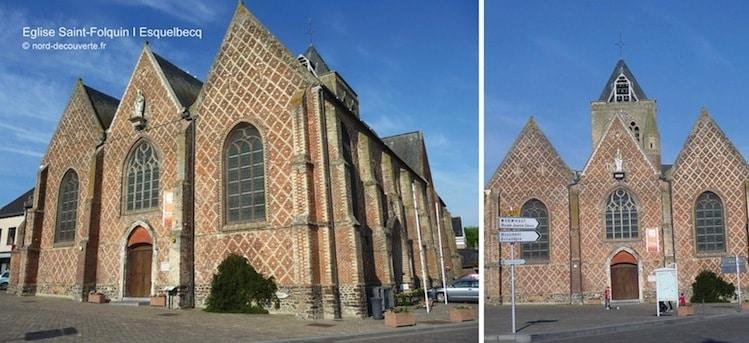 vue de la façade principale de l'éflise Saint-Folquin à esquelbecq et ses motifs en losange