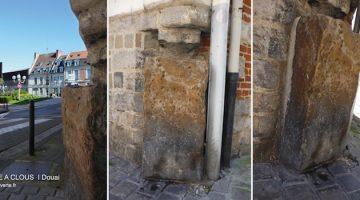trois angles de vue pour la borne à clous de Douai, une des pierres insolites du Nord-Pas-de-Calais