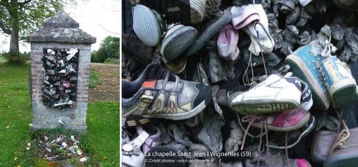 La chapelle Saint-Jean de Wignehies est une chapelle à loques réputée pour favoriser la marche des enfants. o y dépose un chausson, une chaussette ou un petit soulier