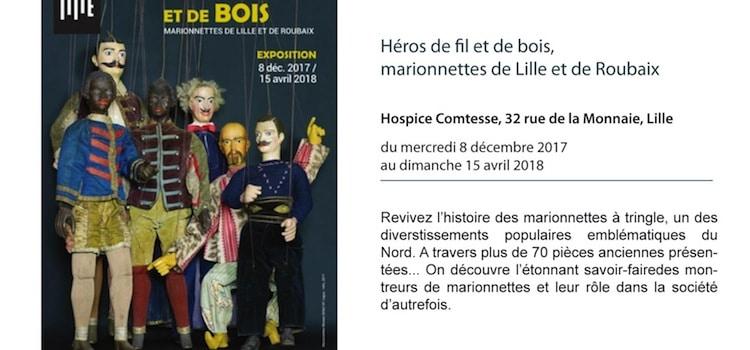 affiche de l'exposition actuelle au musée de l'Hospice Comtesse à Lille consacrée aux marionnettes anciennes