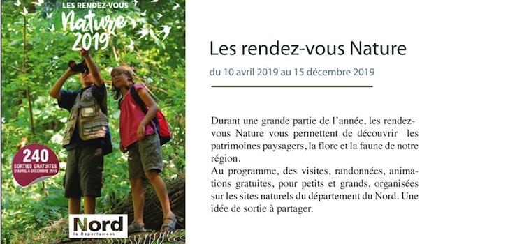 affiche des Rendez-Vous Nature organisésdans le Nord