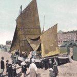 carte ancienne de Berck-sur-Mer avec ses bateaux de pêche
