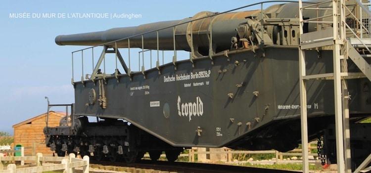 canon sur rail K5 du musée du mur de l'Atlantique à Audinghen
