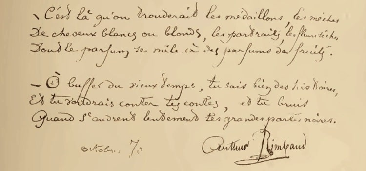 extrait manuscrit du poème le Buffet d'Arthur Rimbaud