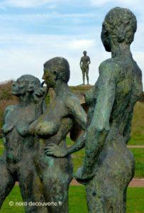 ensemble de statue de bronze dite la Conversation du sculpteur Gadenne