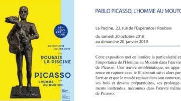annonce de l'exposition Picasso, l'Homme au mouton, au musée de la Piscine à Roubaix