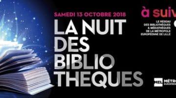 L'affiche de a nuit des Bibliothèques dans la Métropole Lilloise
