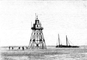 gravure montrant le phare de Walde et un navire échoué
