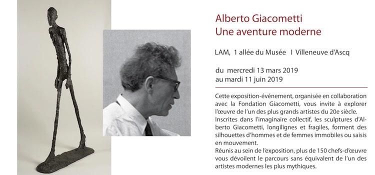 affiche pour l'exposition du lam consacrée à Giocometti