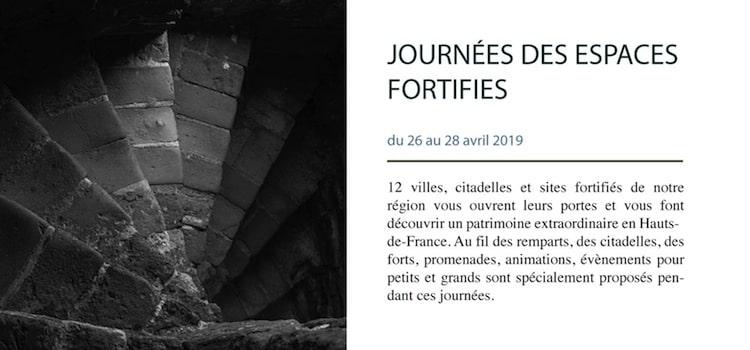 affiche annoncant les journées des espaces fortifiés en Hauts-de-France