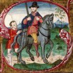 enluminure représentant Saint-Mrartin et son cheval