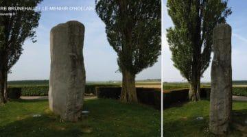 deux vues de la pierre Brunehaut entourée de peupliers d'Italie