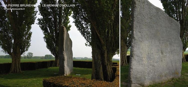 deux vues de profils de la pierre Brunehaut à Hollain