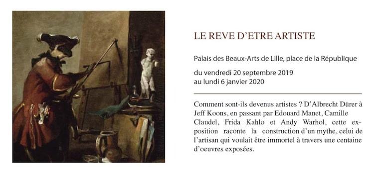 annonce de l'exposition rêve d'artiste au musée des Beaux-Arts de Lille