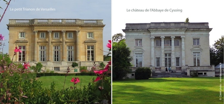 vue comparative du château de Cysoing et du Petit Trianon de Versailles
