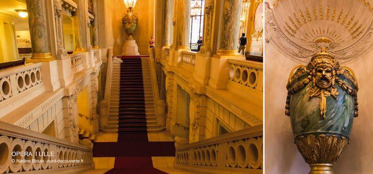 vue du grand escalier intérieur de l'Opéra de Lille