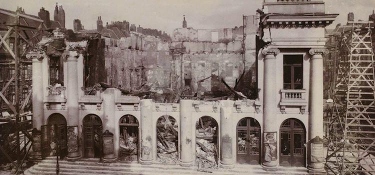 vue de l'ancien théâtre de Lille après l'incendie en 1903