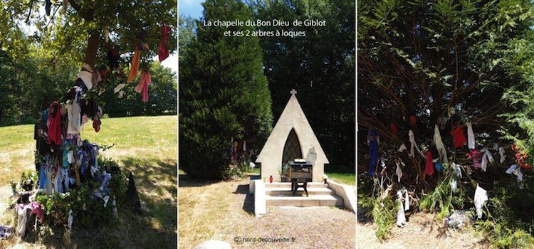 vue des deux arbres à loques et de la chapelle du Bon Dieu de Giblot d'Hasnon